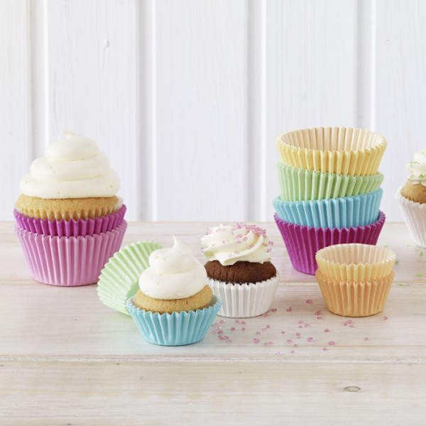 Muffin-Papier- förmchen Weiss/ Pastell 200 Stk.