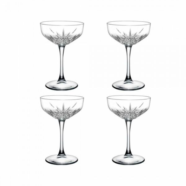 Cocktailbecher mit Fuß - Kristall-Design 4er Set
