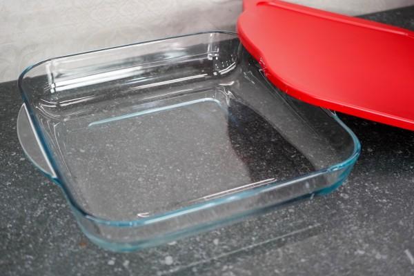 Auflaufform mit Deckel, Servierform eckig aus Glas